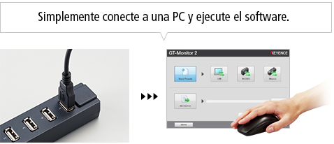 Simplemente conecte a una PC y ejecute el software.